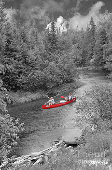 Red canoe by Jim Wright