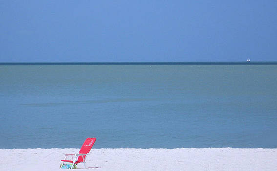 Red Chair And Sailboat by Bill Lucas