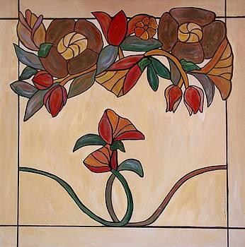 Red Flower Pane by Cynthia Amaral