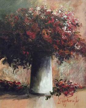 Red flowers in a tin vase by Lizzy Forrester