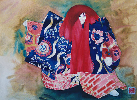 Red-haired Kabuki Dancer by Eve Riser Roberts