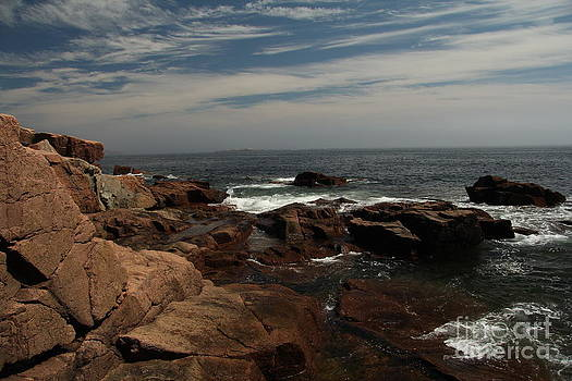Red iron rock and Atlantic Ocean by Diane Greco-Lesser