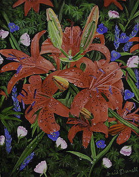 Red Lilies by Gail Darnell