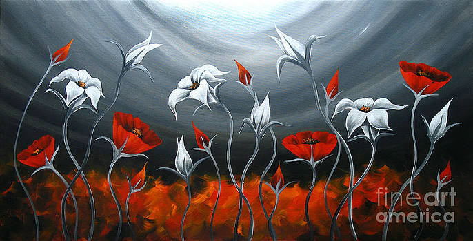 Red Poppies and Tulip by Uma Devi