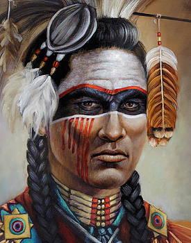 Red Road Warrior Detail by Geraldine Arata