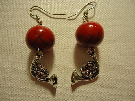 Red Rocker French Horn Earrings by Jenna Green