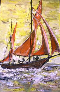 Red sailing boat  by Baruch Neria-Kandel