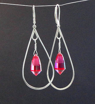 Red Topaz  Acorn Cut Briolette Chandelier Drop Earrings by Robin Copper