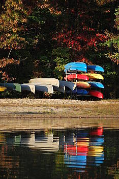 Reflections of Canoes and Kayaks by Donna Harding