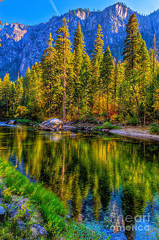 Reflections on the Merced river Yosemite National Park by Eyal Nahmias