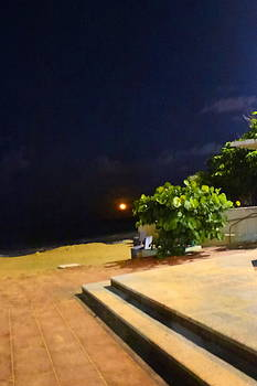 Sandra Pena de Ortiz - Rising Moon With a View of Jupiter from the Caribbean
