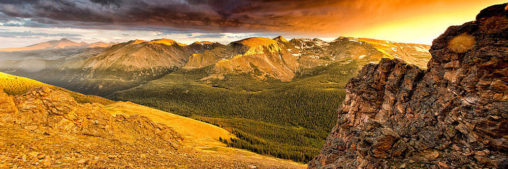 Rock Cut Sunset Rocky Mountain National Park 1794  by Ken Brodeur