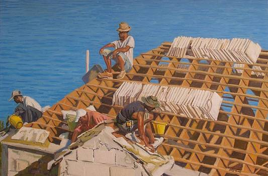 Roofworkers by Otto Trott