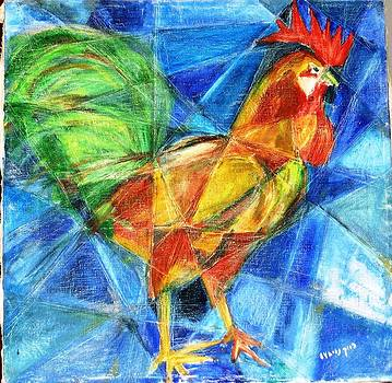 Rooster in blue by Baruch Neria-Kandel