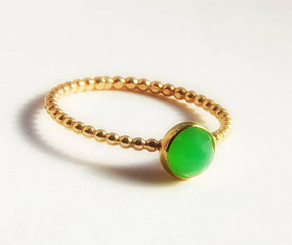 Rose Cut Chrysoprase Ring- Dainty Stackable Gold Ring- Gold Stacking Ring-  by Nadina Giurgiu