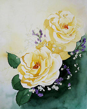 Roses and Baby's Breath by Donna Francis