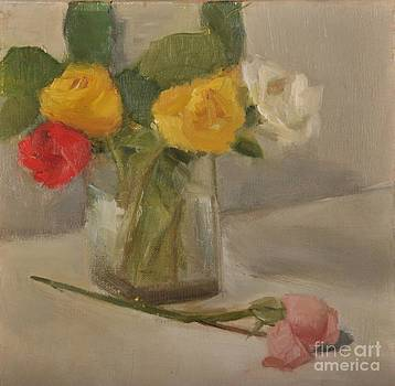Roses in a glass vase by Joyce Colburn