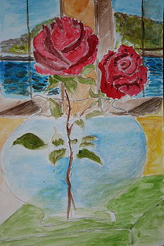 Roses In Front Of The Window by Mladen Kandic