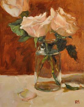 Roses in Glass Jar by Karen Meredith