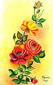Roses on  a yellow wall by Monica  Vega