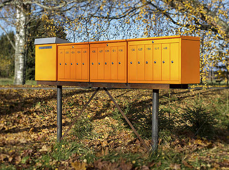 Row Of  Metallic Mailboxes by Jaak Nilson