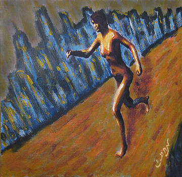 Running Nude Female Goddess on the Muddy Skyline of Chicagos Lakefront by M Zimmerman