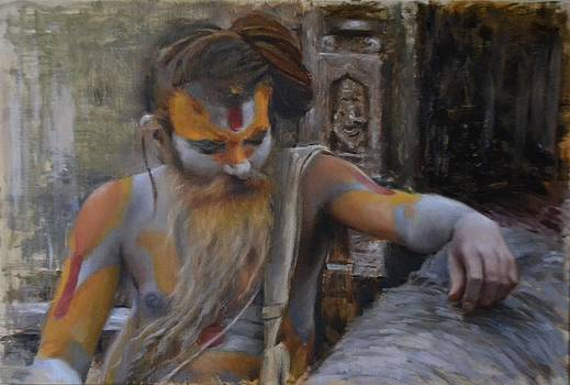 Sadhu on the banks of Bagmati by Phil Couture