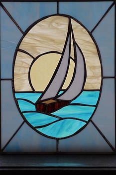 Sailboat lead glass by Ralph Hecht