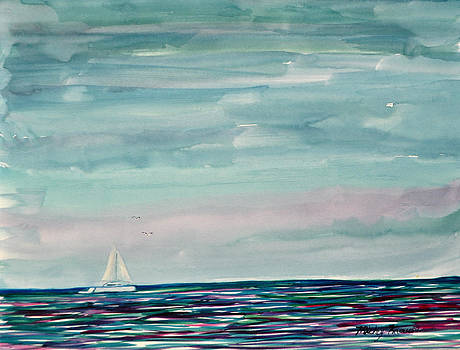 Sailboat on the Gulf by Mickey Krause
