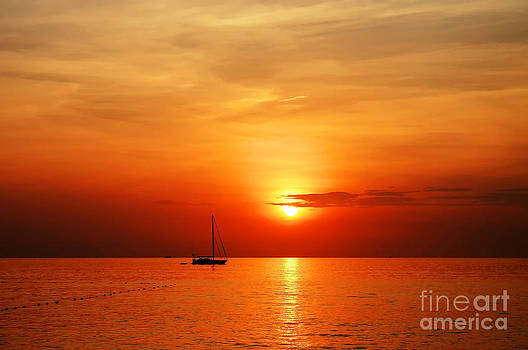 Sailing Boat Sunset At Kata Beach Phuket  by Anusorn Phuengprasert nachol