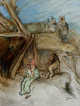 Saint Jerome With Lion In An Italian Setting by Bruce Shane