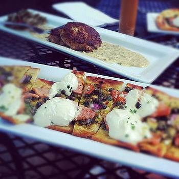 Salmon Flatbread Pizza & Crab Cakes by Ian Phillips