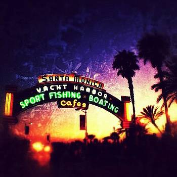 #santamonica #pier #sign #night #neon by Denise Taylor