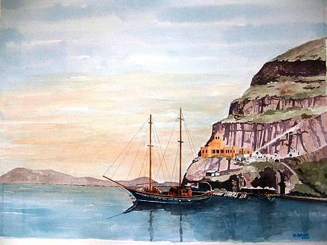 Santorini bay by Samir Sokhn