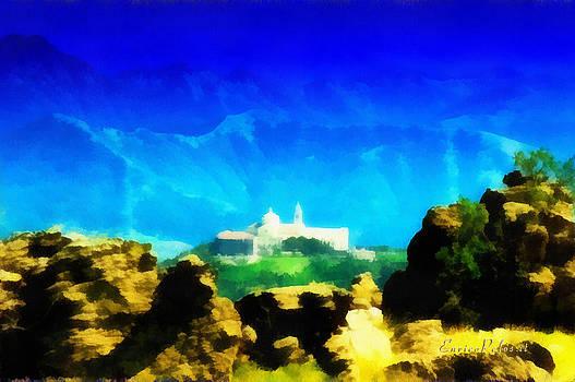 Enrico Pelos - Santuario della Madonna della Guardia di Genova dall