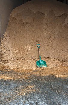 Sawdust And Shovel In A Barn. Bedding by Marlene Ford