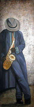 Sax Player on Silver Leaf by Judy Merrell