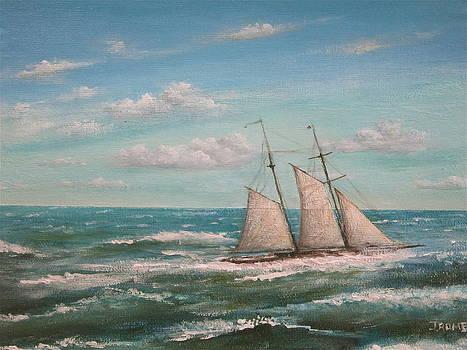 Schooner at Sea by Jim  Romeo