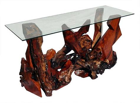Sculptured Redwood and Glass Top Console Table DS-19311 by Daryl Stokes