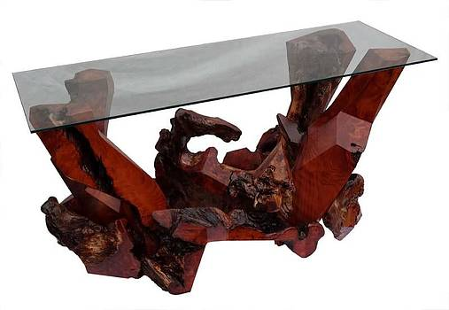 Sculptured Redwood Console Table with Glass Top - DS-19211 by Daryl Stokes
