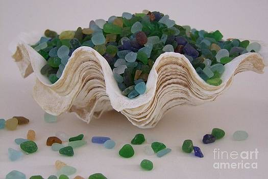 Mary Deal - Sea Glass in Clam Shell - No 1