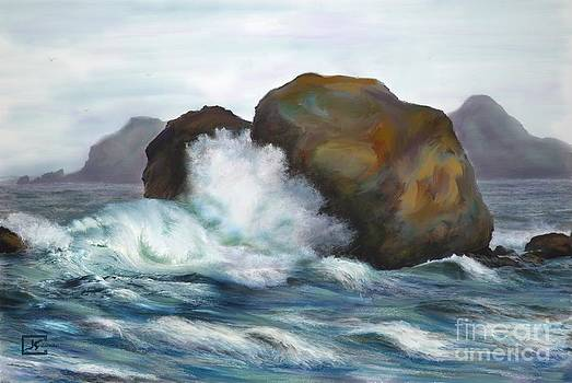 Seascape Rocks and Surf by Judy Filarecki