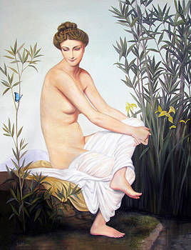 Seated Nude with Butterfly by Judy Merrell