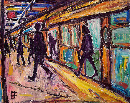 Allen Forrest - Seattle Transit Train Commuters Arriving at Station