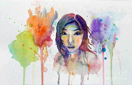 Self Portrait in Watercolor by Marie Jeon