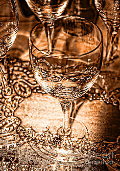 Anne Ferguson - Sepia Wine Glass and Lace