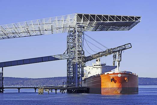 Shipping Grain Bulk Carrier Loading by Douglas Orton