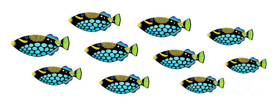 Shoal of Clown Triggerfish  by Opas Chotiphantawanon