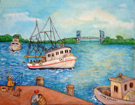 Shrimp Boat Coming by Joan Landry