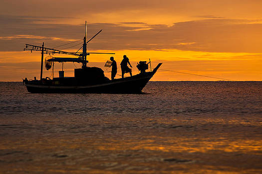 Silhouette Fisherman Boat Sunset Huahin Thailand by Arthit Somsakul